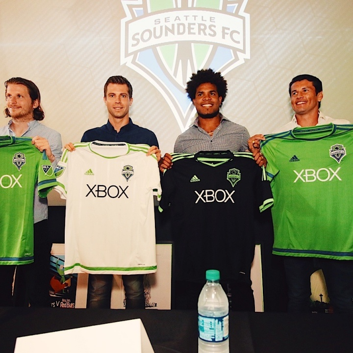 Friberg, Ivanschitz, Torres, Valdez, show off their new jerseys.