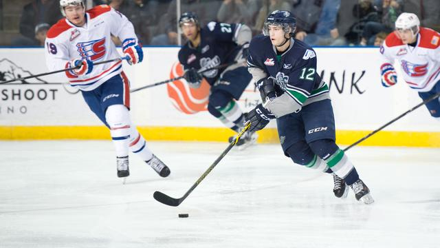 Thunderbirds Ryan Gropp with the puck against Spokane.