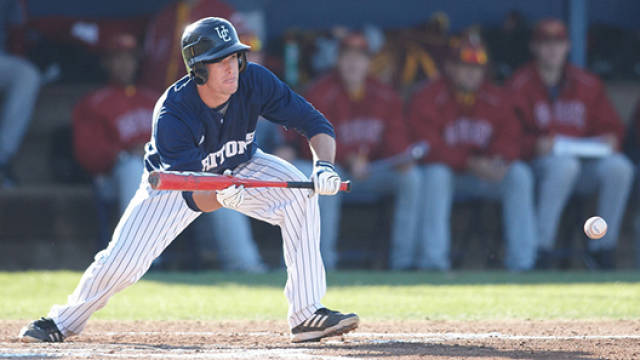 Dillon Moyer laying down a bunt at UCSD (Credit - uscdtritons.com)