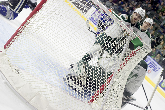 Carter Hart surrenders a goal against the Victoria Royals in Game 2 of the WHL Playoffs.
