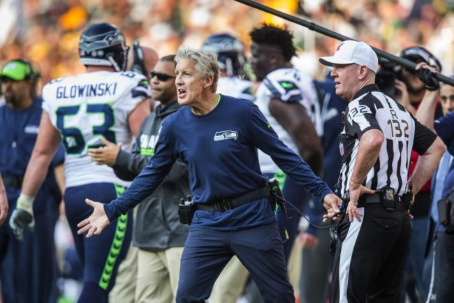 Seattle Seahawks Pete Carroll not happy at the refs (Dean Rutz / The Seattle Times)