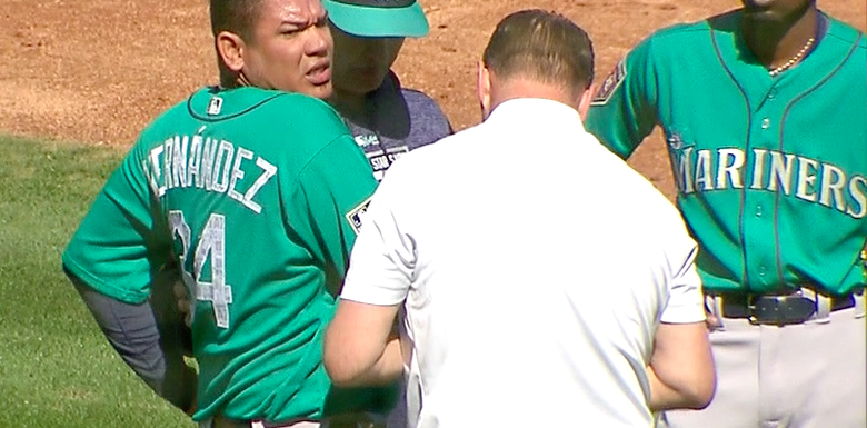 Down goes the King! Felix injured by a line drive!