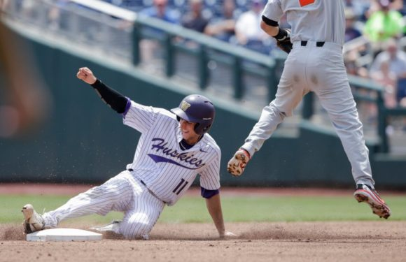 Huskies stopped by weather and Beavers, lose 14-5 in College World Series
